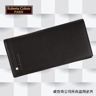【Roberta諾貝達】男用皮夾 長夾 專櫃皮夾 進口軟牛皮鉚釘長夾 (黑色)23158