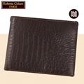 【Roberta諾貝達】男用皮夾 短夾 專櫃皮夾 進口歐洲鱷魚紋短夾 (咖啡色)23551