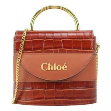 Chloe 小牛皮鱷魚壓紋橢圓桶型金屬手提肩背包(棕)