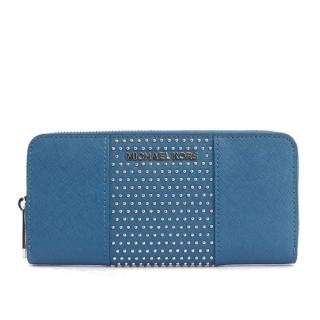 MICHAEL KORS 防刮皮革+鉚釘ㄇ型拉鏈長夾(鋼藍)35F7SD7Z3L STEEL/BLU