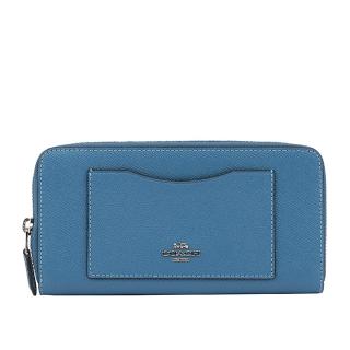 COACH 馬車LOGO防刮皮革口袋拉鍊長夾(藍色) F54007 SVYZ