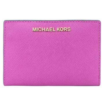MICHAEL KORS JET SET防刮卡片零錢短夾-紫紅