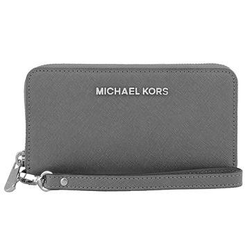 MICHAEL KORS 素色防刮皮革萬用皮夾手機包(鐵灰)