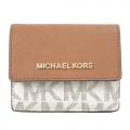 MICHAEL KORS JET SET TRAVEL 金字滿版MK鑰匙零錢包-米棕