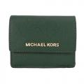 MICHAEL KORS JET SET TRAVEL 金字防刮皮革鑰匙零錢包-深綠