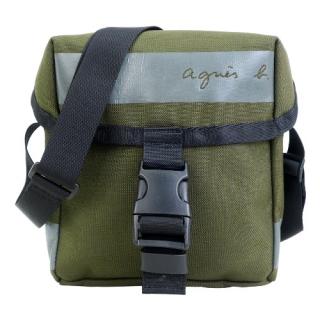 agnes b. CORDURA橫紋帆布斜背包-軍綠