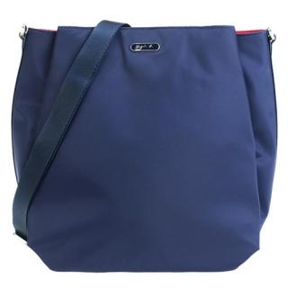 agnes b.長橢圓牌斜背/後背兩用包-深藍