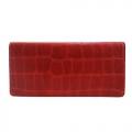 agnes b.鱷魚壓紋卡片長夾(紅)
