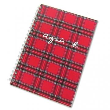 agnes b.線圈蘇格蘭紋筆記本(紅)