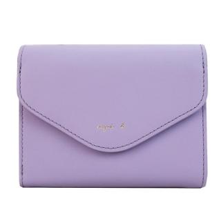 agnes b.燙金字信封短夾(拉鍊零錢袋)(紫