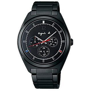 【agnes b.】經典微綴法式三色太陽能日曆腕錶-黑(V14J-0CG0K/BT5011P1)