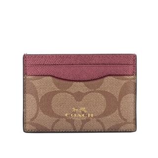 COACH PVC卡片夾+中筒襪禮盒組(苺粉色) F79989 IMPLC