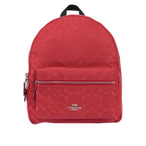 COACH 緹花布LOGO口袋後背包(中)(紅色) F73186 SVDN8