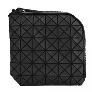 ISSEY MIYAKE三宅一生BAOBAO幾何6x6線紋皮質L型拉鍊零錢包(黑)