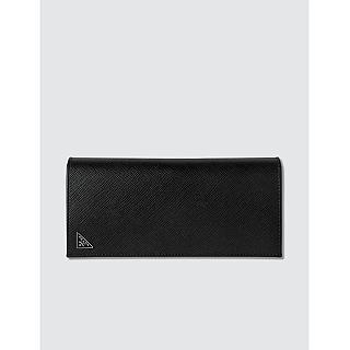 【PRADA 普拉達】經典LOGO三角牌防刮牛皮長夾 黑色(長夾 皮夾 手拿包)