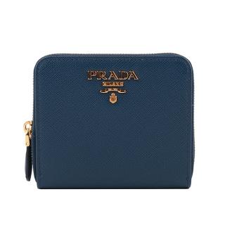PRADA 浮雕logo防刮拉鍊零錢 短夾(深藍色) 1ML036 QWA F0016
