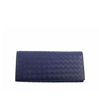 BOTTEGA VENETA 牛皮編織經典款對開長夾(寶藍) 120697 V4651 4156