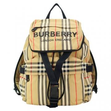 BURBERRY 徽標印花LOGO條紋尼龍後背包(經典色)