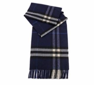 BURBERRY 基本款經典格紋喀什米爾圍巾(藍色) 8015540 A1503