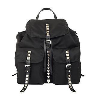 PRADA 經典尼龍鉚釘皮革雙口袋大型後背包(黑色)