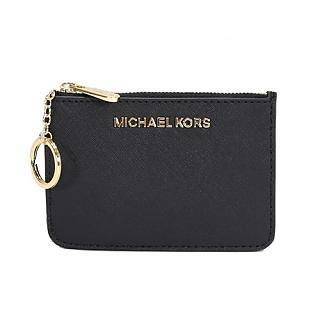 Michael Kors 防刮皮革金字卡片鑰匙證件夾零錢包(黑色)
