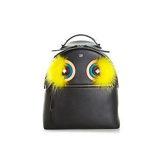 限量 全新 Fendi Bag Bugs 小牛皮 拼接水蛇皮紋尼龍雙肩後背包