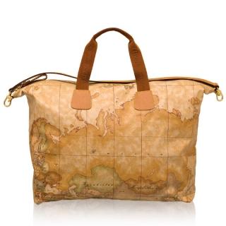 【Alviero Martini 義大利地圖包】PU尼龍微笑拉鍊手提包袋(大)-地圖黃