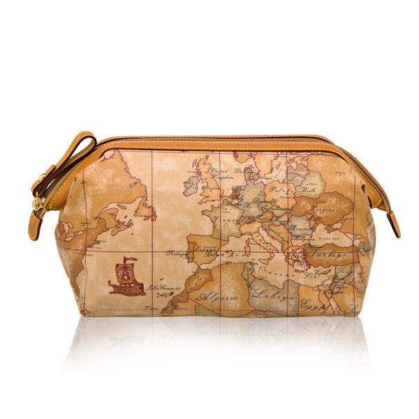 【Alviero Martini 義大利地圖包】尼龍拉鍊化妝包(中)-地圖黃
