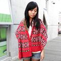 Lus.G 冬暖美學雙色雪花披肩型圍巾-紅色