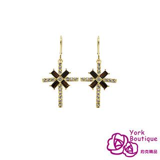 【約克精品】歌德十字架施華洛世奇元素晶鑽包黃K金勾式耳環