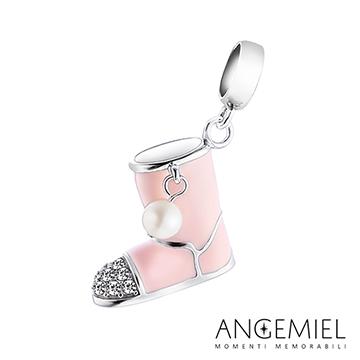 義大利Angemiel安婕米 925純銀珠飾 Dream童話系列 粉紅雪靴 吊飾