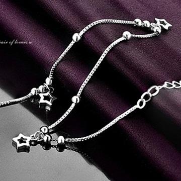 【巴黎精品】925純銀腳鍊銀飾-經典流行可愛星星73ib4