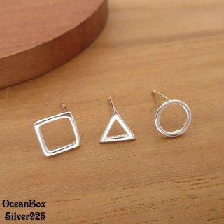 【海洋盒子】三支一組.三角方圓925純銀耳環
