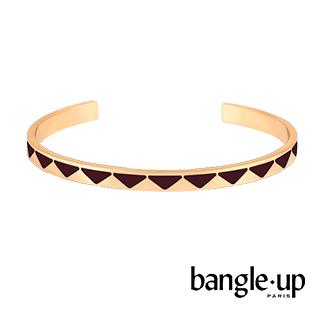 【BANGLE UP】法國巴黎 Bollystud Cuff 時尚印花琺瑯開口鍍金手環 酒紅