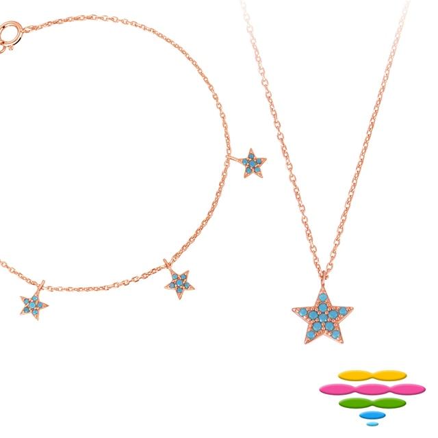 彩糖 桃樂絲系列銀飾 玫瑰金純銀項鍊 & 手鍊套組
