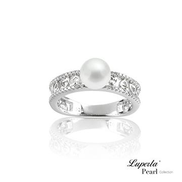 大東山珠寶 永恆珍心 純銀晶鑽珍珠戒指-國際圍14