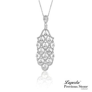 【大東山珠寶】孔雀之羽 璀璨晶鑽純銀項鍊