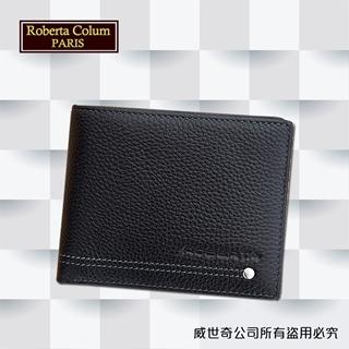 【Roberta諾貝達】男用皮夾 短夾 專櫃皮夾 進口軟牛皮鉚釘短夾 (黑色)23151