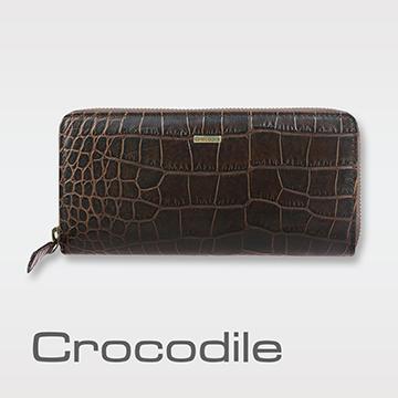 Crocodile Croco 義大利植物鞣製皮 鱷魚壓紋拉鍊長夾0103-5008
