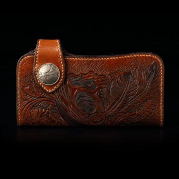 倉吉0275  海盜骷髏,植鞣革皮雕手工財布/ 皮夾