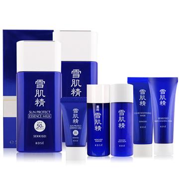 KOSE 高絲 雪肌精極效輕透防曬乳N(55ml)X2贈雪肌精+乳液+黑面膜+洗顏霜+凝膠
