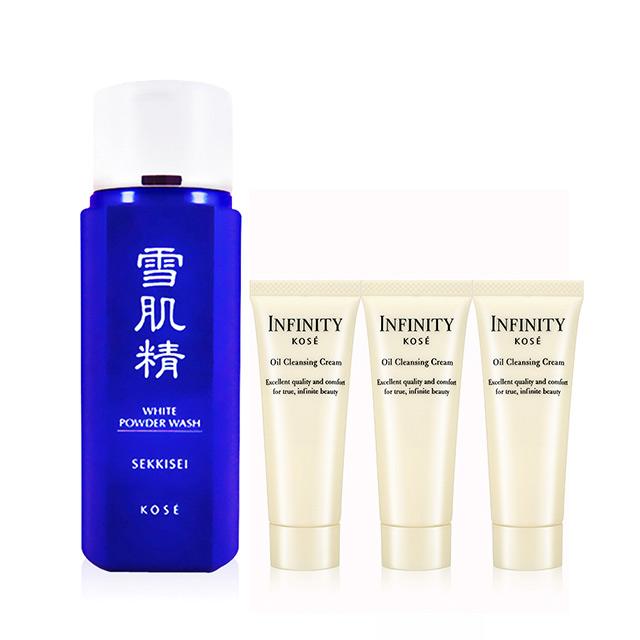 KOSE 高絲 雪肌精靚白洗顏粉 100g+無限肌緻精潤卸妝霜 25gX3