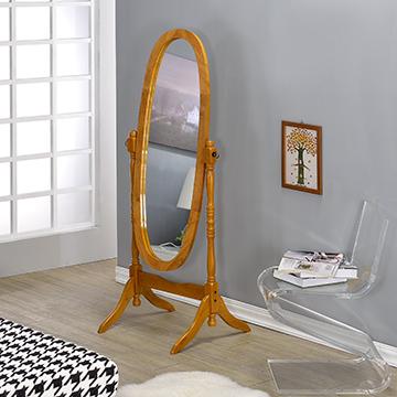 【AAA】實木橢圓立鏡-橡木色(三色可選)