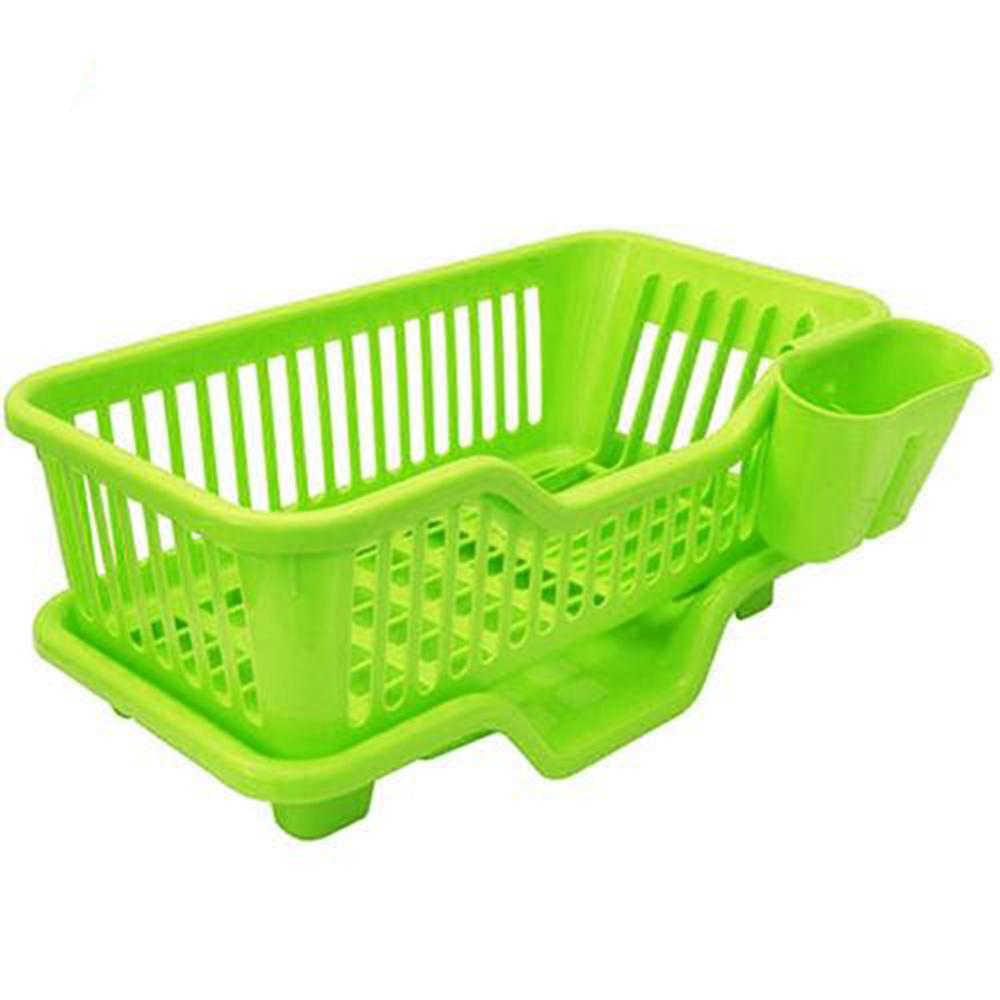 月陽大容量三件排水式碗盤收納瀝水架餐具架筷籠(442317)