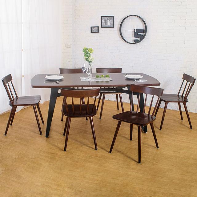 Boden-萊森工業風實木餐桌椅組(一桌六椅)