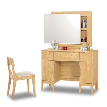 【時尚屋】[C7]丹肯3.3尺栓木實木化妝台-含椅子C7-539-3免運費/免組裝/臥室系列/化妝台/鏡台