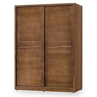 【時尚屋】[G18]艾丹淺胡桃5尺推門衣櫥G18-006-1免運費/免組裝