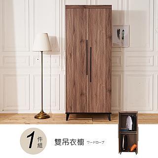 【時尚屋】克里斯2.6尺雙門衣櫥DV9-234-1(免運費 免組裝 衣櫥)